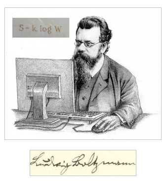 "Fig. 1 : Ludwig Boltzmann et ""son ordinateur"""