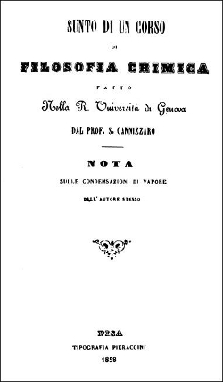 Fig. 4 : Mémoire de Cannizzaro publié en 1858